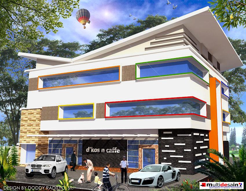 Desain gedung kos dan cafe