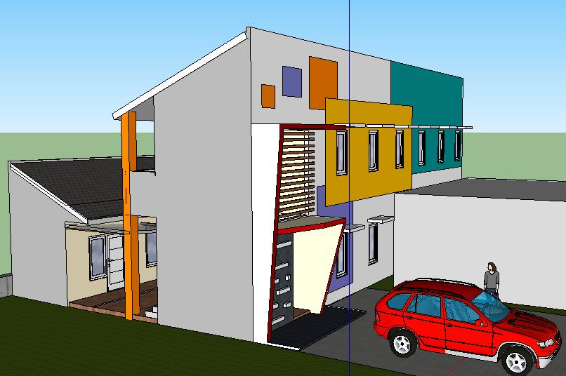 Desain ini dibagi 2. Bagian depan 2 lantai, sedangkan belakang 1 lantai sedang di tengahnya taman dan parkir motor