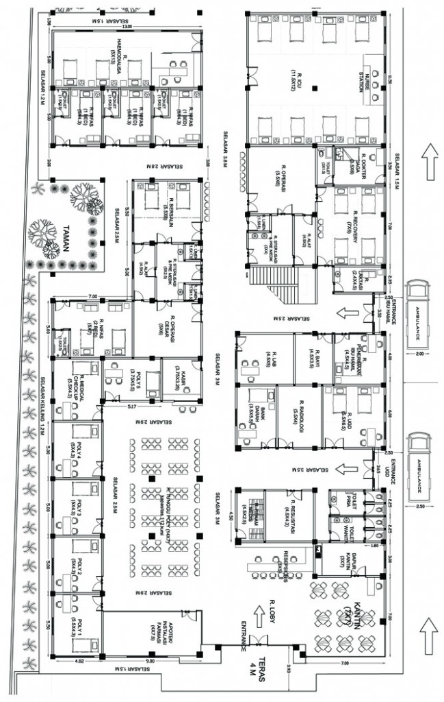 Denah Lantai 1 Bangunan Induk  RS Narariya Husada