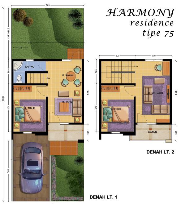Denah Tipe 75 (2 Lantai)