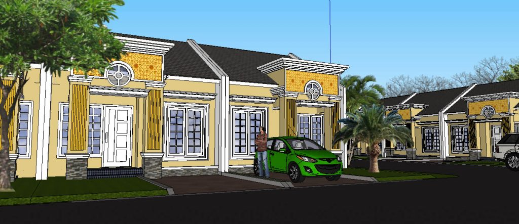 View 10:  Perumahan Hijau dengan Taman di Setiap Sudut Jalan dan di depan Rumah