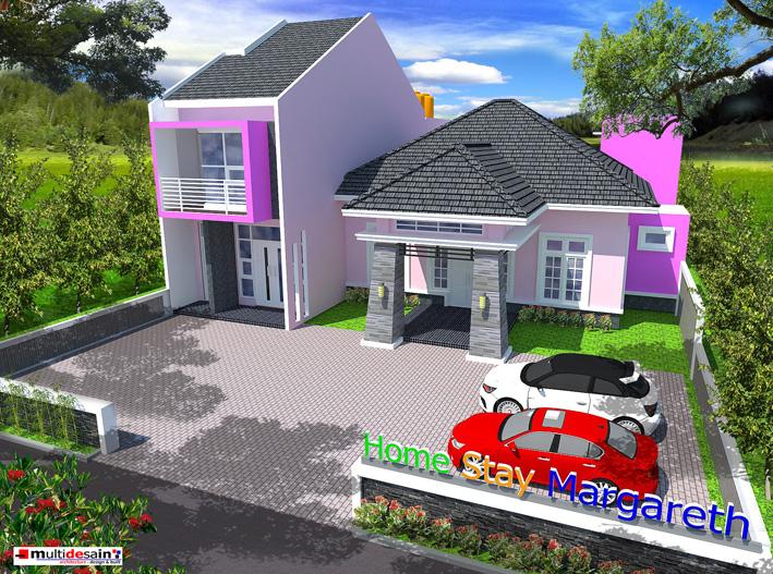 Signage Home Stay berwarna warni pada entrance depan untuk memberi kesan ceria, ramah dan semangat baru