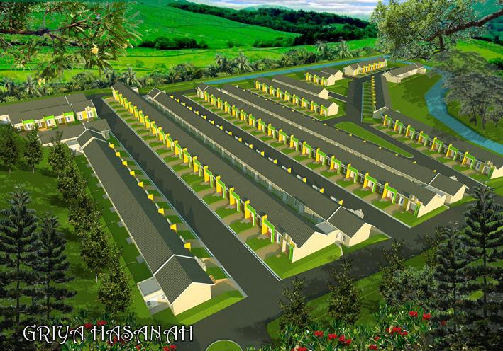 Perumahan FLPP yang bernuansa estate pedesaan. Dikelilingi sungai, bukit dan persawahan