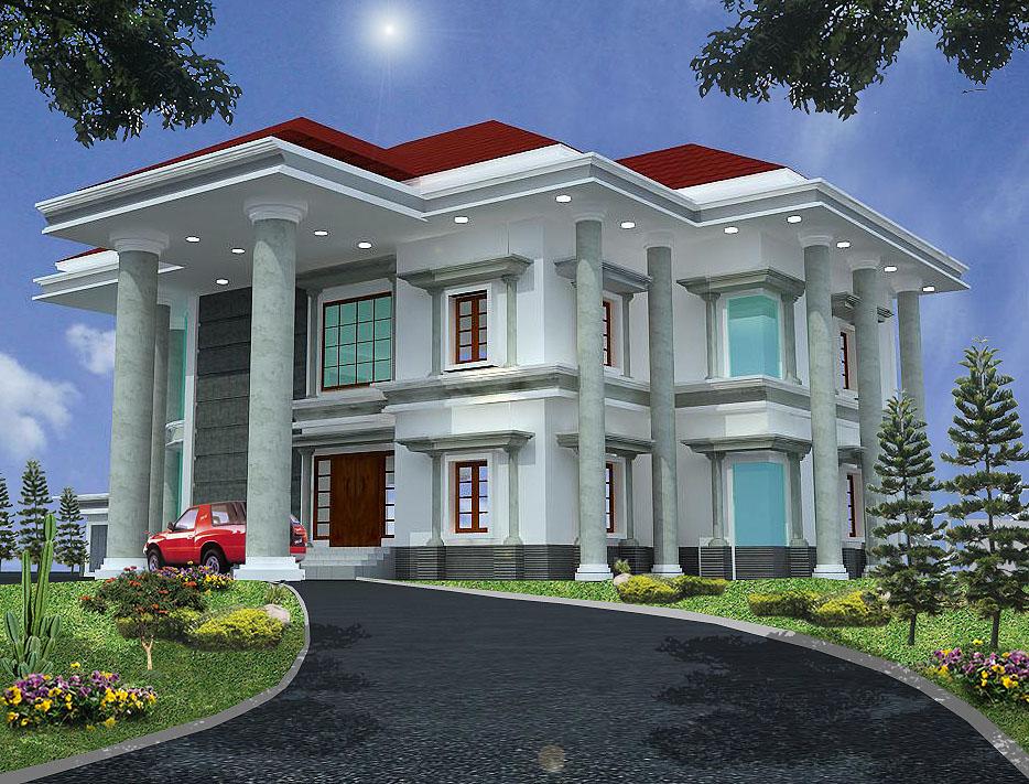 3 Dimensi Konsep Awal. Penggunaan tiang-tiang setinggi 11 m mengelilingi rumah untuk memberikan kesan mewah. Drop off di bagian depan rumah untuk menurunkan penumpang.