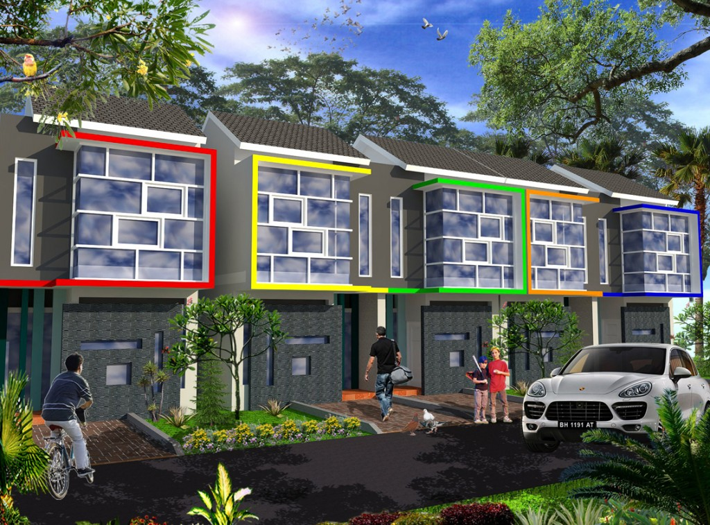 Tampak Depan. Desain ini bisa menjadi solusi untuk rumah di lahan sempit