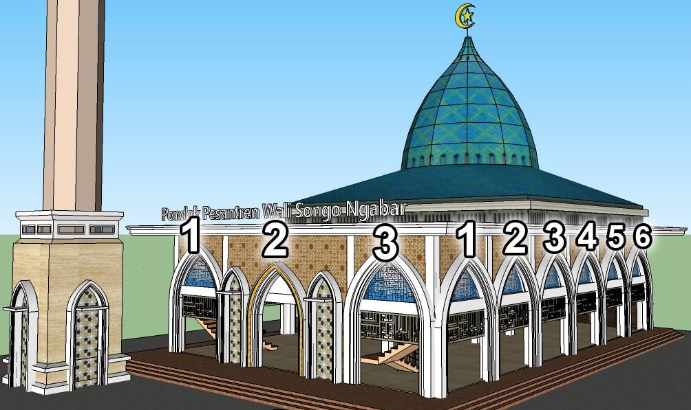 Pintu Pilar di sisi depan ada 3, sedangkan di samping Masjid ada  6.  Jumlah dari 3 + 6 adalah 9, menggambarkan Wali Songo
