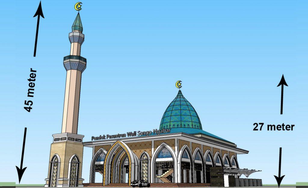 Tinggi Masjid 27 meter (2 + 7 = 9) Tinggi Tower 45 meter (4 + 5 = 9) Angka 9 melambangkan Wali  Songo