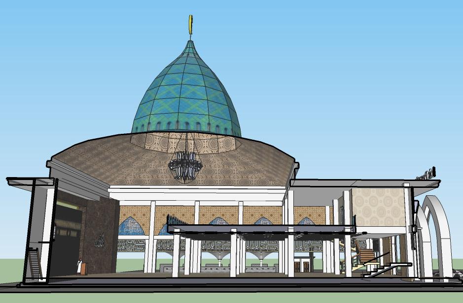Potongan Masjid 2 Lantai. Atap Kubah terbuat dari enamel galvalum dengan            rangka atap space truss bentang lebar tanpa kolom