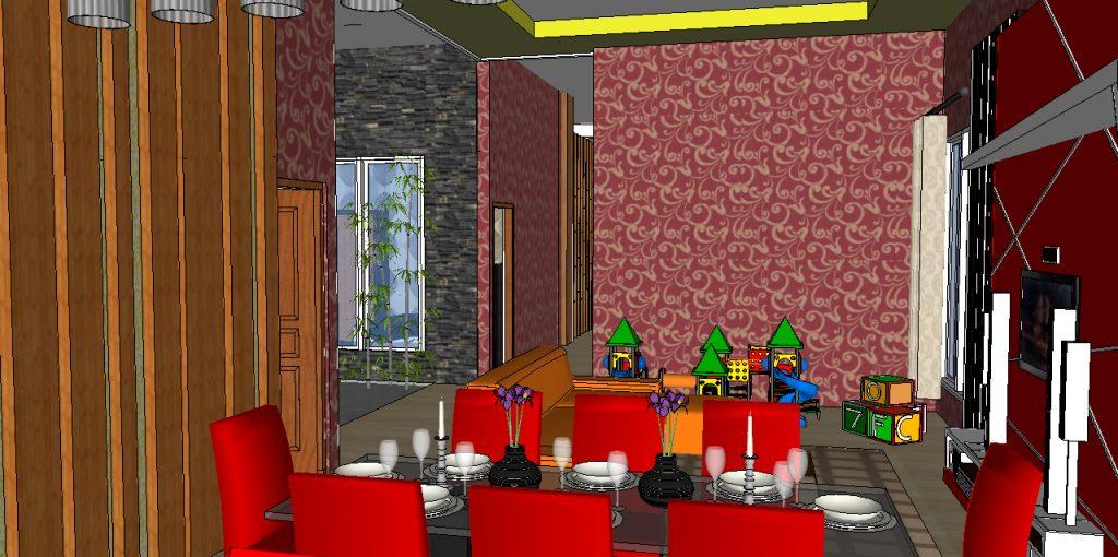 View Ruang Makan ke arah Taman Indoor