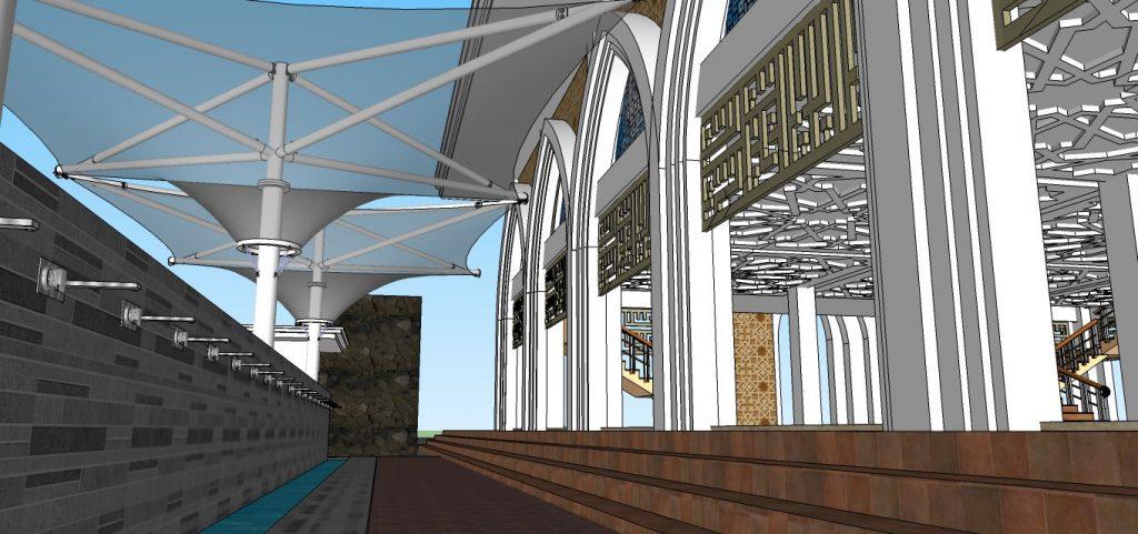 Desain Ruang Wudhu. Atap ruang wudhu menggunakan Membrane Tensile. Sejenis payung  transparan yang  tahan air dan cuaca.