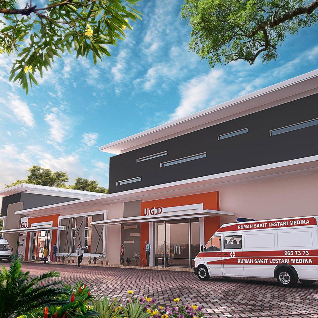 Desain Tampak Samping Rumah Sakit Lestari Husada Madiun