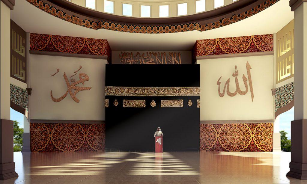 Interior dan view Mihrab yang berupa replika Ka'bah