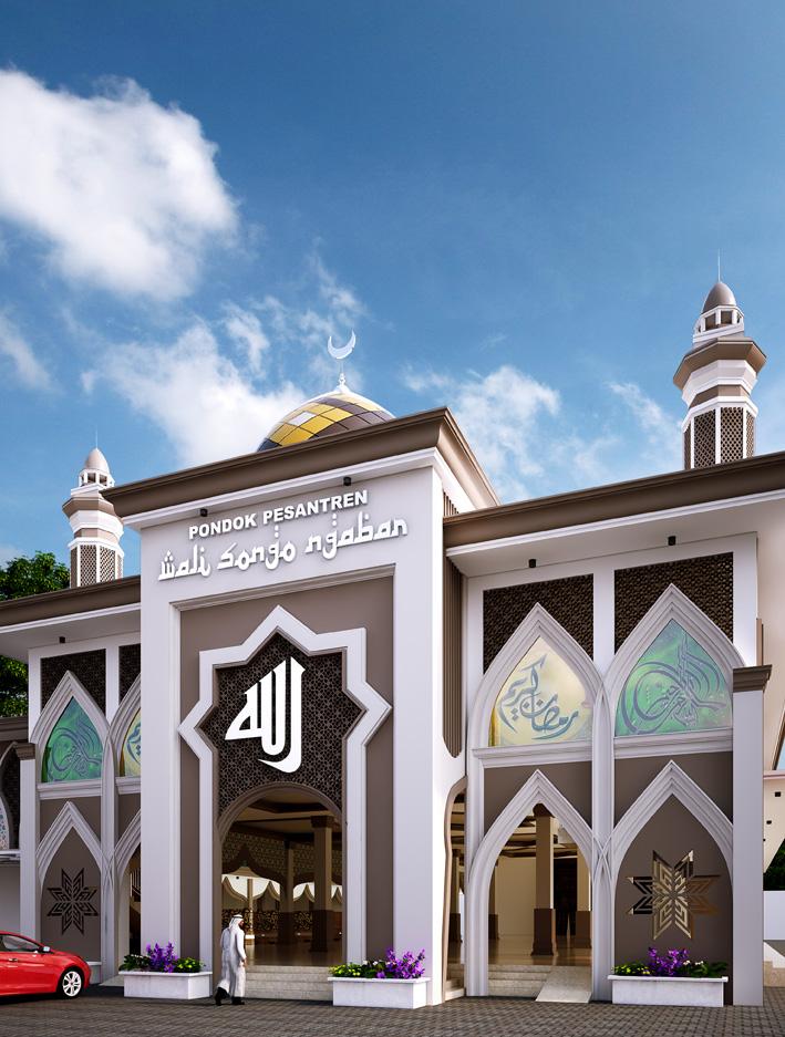 Tampak Depan Masjid. Perpaduan antara Modern dan Timur Tengah