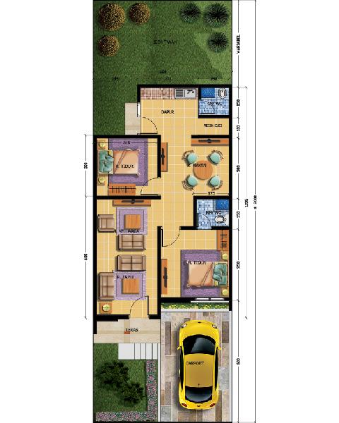 Desain Denah Rumah Tipe 76