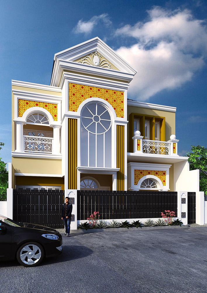 Perspektif Desain Tampak Depan Rumah Klasik Bpk Amir Madiun